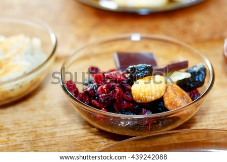 beautiful arrangement of healthy life style vegetarian breakfast on wooden table - stock photo