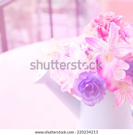 beautiful artificial  flowers with color filters