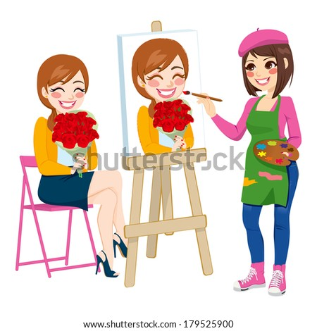 Beautiful artist woman painting portrait of happy woman holding flower bouquet on canvas - stock photo