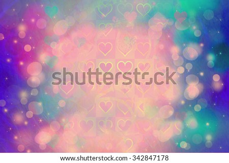 Beautiful artistic background with bokeh lights and heart pattern - stock photo
