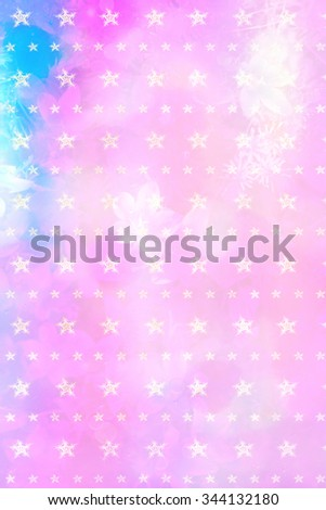 Beautiful artistic background with flowers and snowflakes pattern  - stock photo