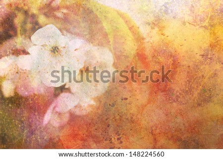 beautiful artwork with delicate apple tree flowers and watercolor strokes - stock photo