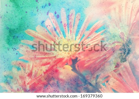 beautiful artwork with red aster's flower and green watercolor splashes - stock photo
