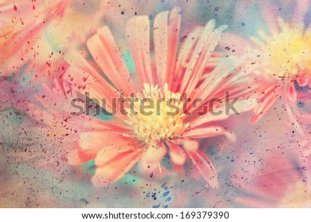 beautiful artwork with red aster's flower and watercolor splashes - stock photo