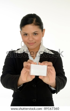 Beautiful asian business woman holding a blank business card and smile