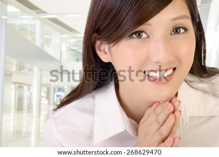 Beautiful Asian business woman portrait . - stock photo