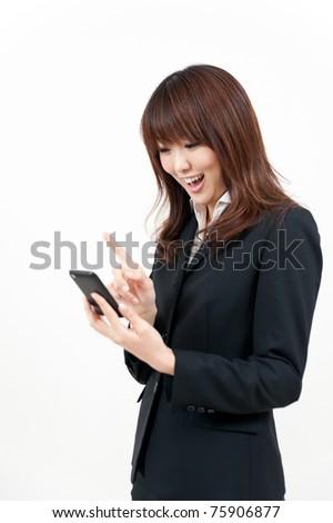 beautiful asian businesswoman using smart phone - stock photo