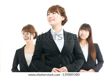 Beautiful asian businesswomen isolated on white background
