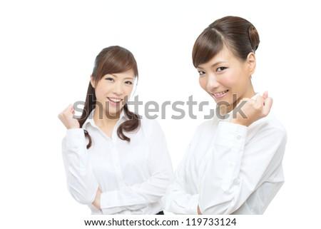 Beautiful asian businesswomen on white background - stock photo