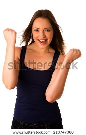 beautiful asian caucasian woman gesturing success - stock photo