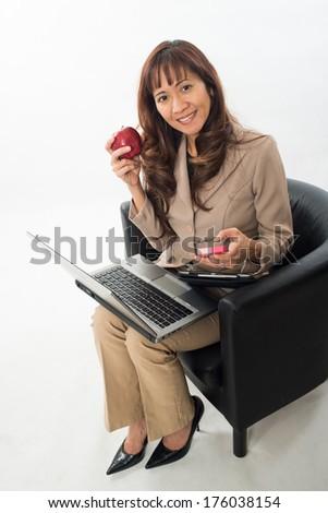Beautiful asian filipino business woman - stock photo