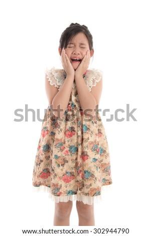 Beautiful asian girl crying on white background isolated - stock photo