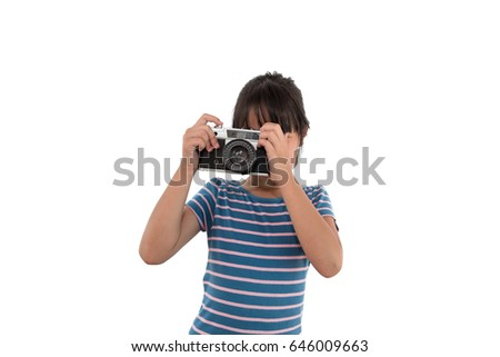 Beautiful Asian Girl Holding Film Camera on white background