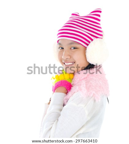 Beautiful  asian girl in winter clothes - stock photo
