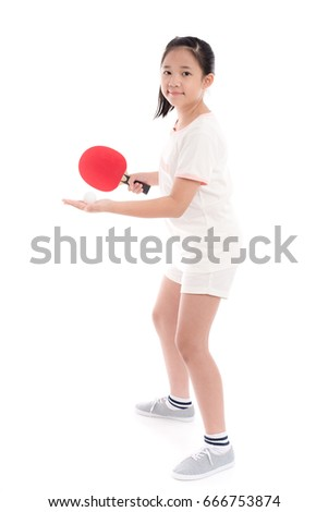 Beautiful Asian girl  playing table tennis on white background isolated