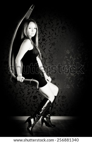 Beautiful asian girl portrait. black and white - stock photo