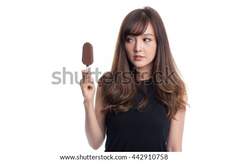 Beautiful asian girl with big eyes  eating or holding  a ice cream on white background