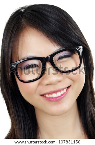 beautiful asian girl with eyeglasses