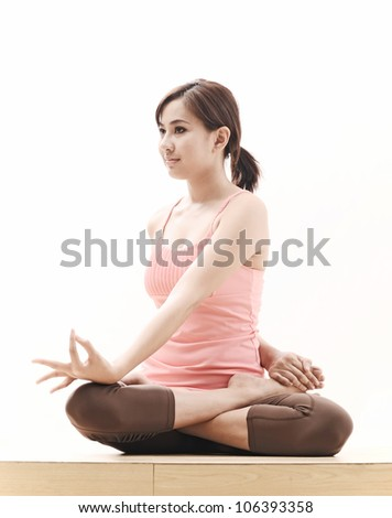 beautiful asian girl with yoga pose on white background