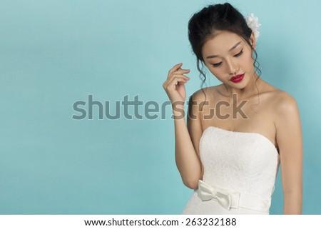 Beautiful Asian Oriental Bride - stock photo