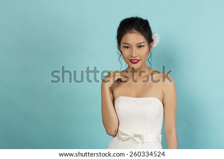 Beautiful Asian Oriental Bride in Studio