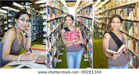Beautiful Asian student in a college library - stock photo