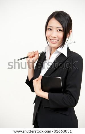 beautiful asian teacher - stock photo