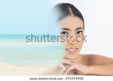 beautiful Asian woman double exposure with ocean picture