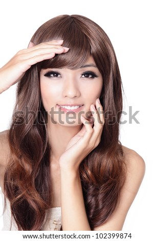 beautiful asian woman hand touch her face isolated on white background, model is a asian beauty - stock photo