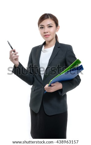 Beautiful asian woman holding document and pen.
