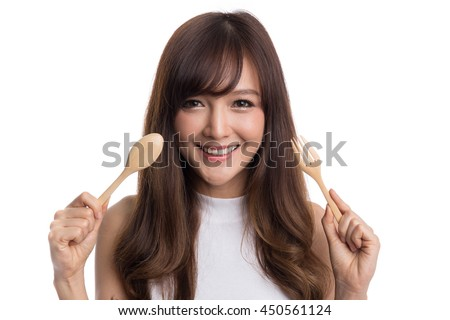 Beautiful asian woman holding spoon and fork, hungry woman,food and lifestyle concepts, isolated on white background