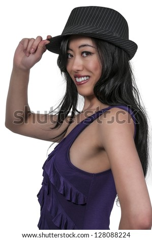 Beautiful asian woman in a fedora hat