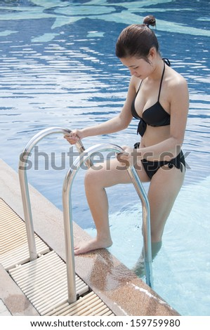 Beautiful Asian woman in swimming pool.