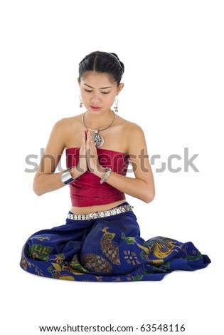 beautiful asian woman praying, isolated on white - stock photo