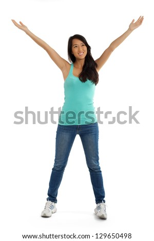 Beautiful Asian woman raising arms and spread open