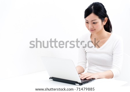 beautiful asian woman using laptop - stock photo