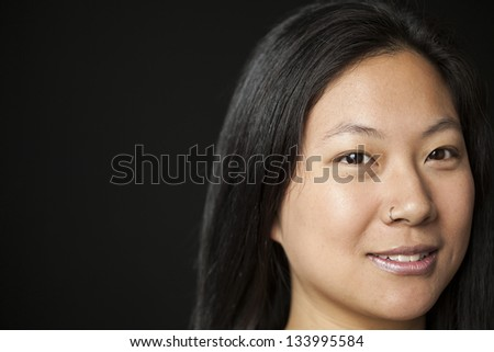 Beautiful Asian woman with brown hair and eyes. - stock photo