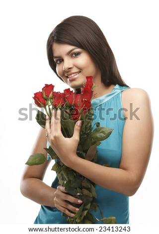 Beautiful asian woman with  red roses - stock photo