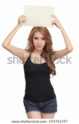 Beautiful asian women holding blank board -  isolated over a white background