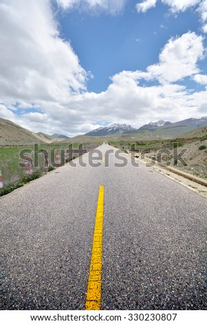 beautiful asphalt highway road-318 National Road