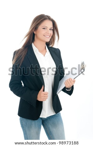 beautiful assistant smiling in white