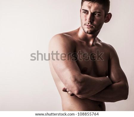 Beautiful athletic caucasian man - stock photo