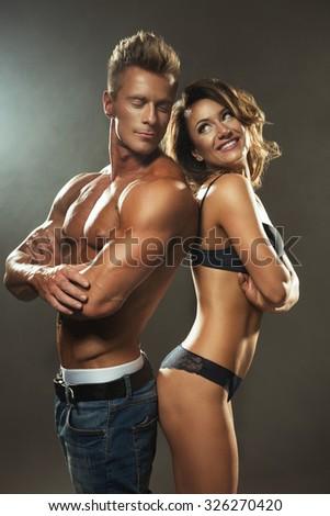 Beautiful athletic couple.  - stock photo