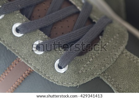 beautiful athletic sneakers close up