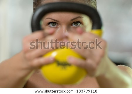 exercise whit ab roller young woman stock photo 183715103