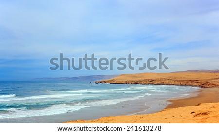 Beautiful Atlantic Ocean landscape somewhere between Agadir and Essaouira, Morocco - stock photo