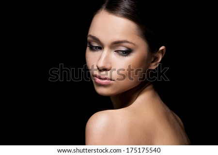Beautiful, attractive woman with gorgeous face - stock photo