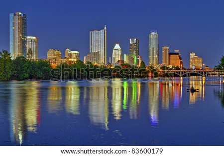 Beautiful Austin skyline reflection at twilight - stock photo