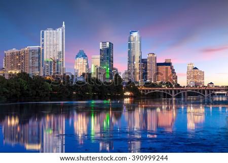 Beautiful Austin skyline reflection at twilight, Texas - stock photo