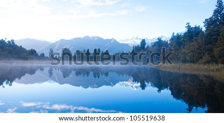 Beautiful autumn at Matheson lake Aoraki Mount Cook National Park New Zealand